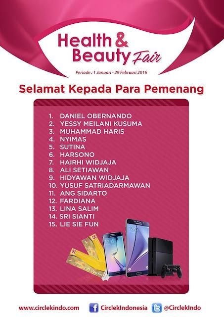 Pemenang Promo Undian Health & Beauty Fair Circle K