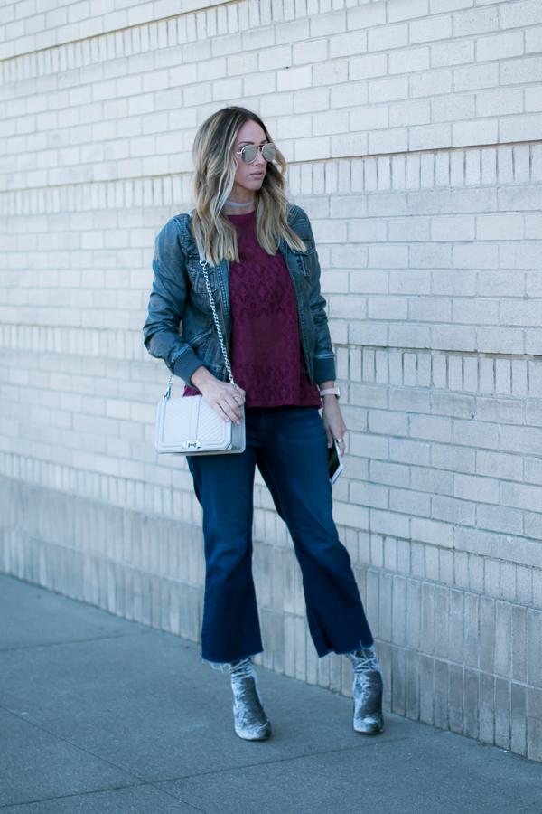 dark denim cropped flare jeans