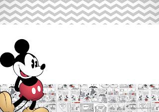 Invitaciones de Mickey Mouse Vintage para Imprimir Gratis.