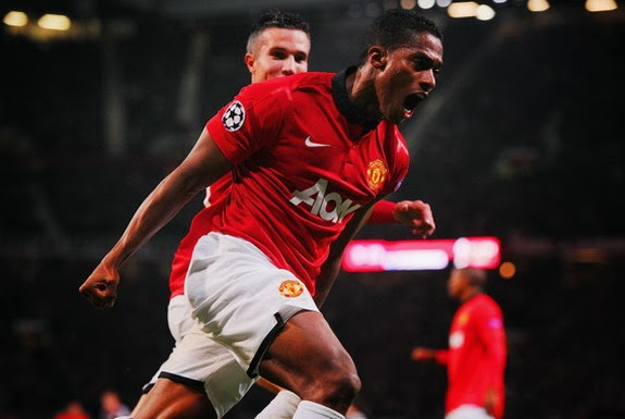 Antonio Valencia celebrates after scoring Manchester United's fourth goal against Leverkusen