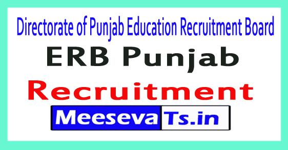 Directorate of Punjab Education Recruitment Board ERB Recruitment Notification 2017