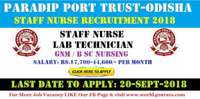 Staff Nurse Vacancy in Paradip Port Trust - Odisha 2018