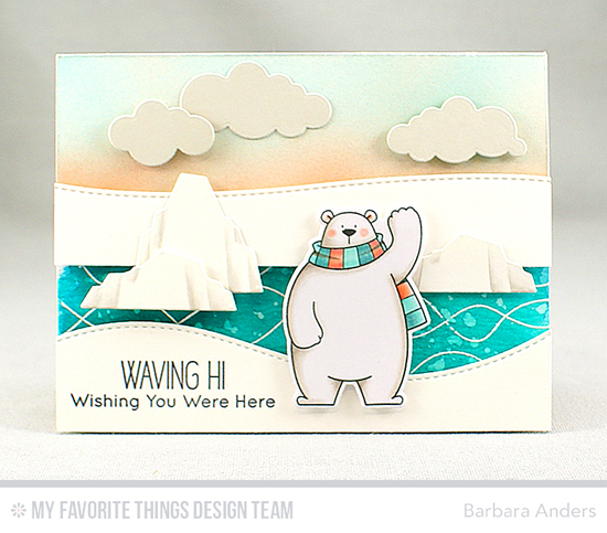 Handmade card from Barbara Anders featuring Birdie Brown Polar Bear Pals stamp set and Die-namics, Whimsical Waves Background stamp, Puffy Clouds, Stitched Snow Drifts, and Birdie Brown Icebergs Die-namics #mftstamps
