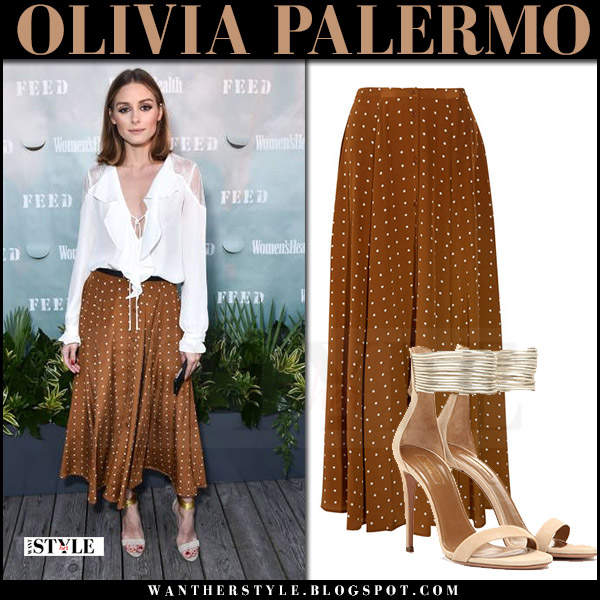 Olivia Palermo in white ruffled blouse and brown maxi skirt diane von furstenberg what she wore august 5 2017