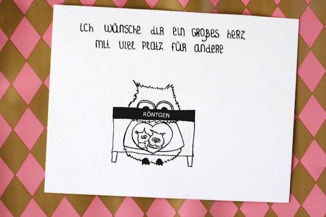 Eulen mit einem großen Herz für Freunde - Doodle