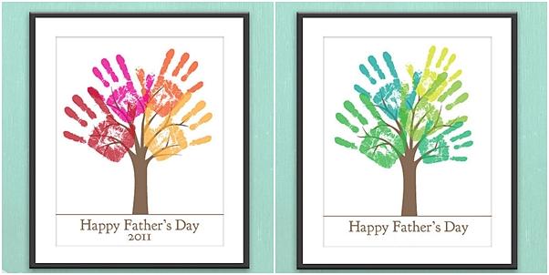 presentes criativos dia dos pais quadro com marca de mãos