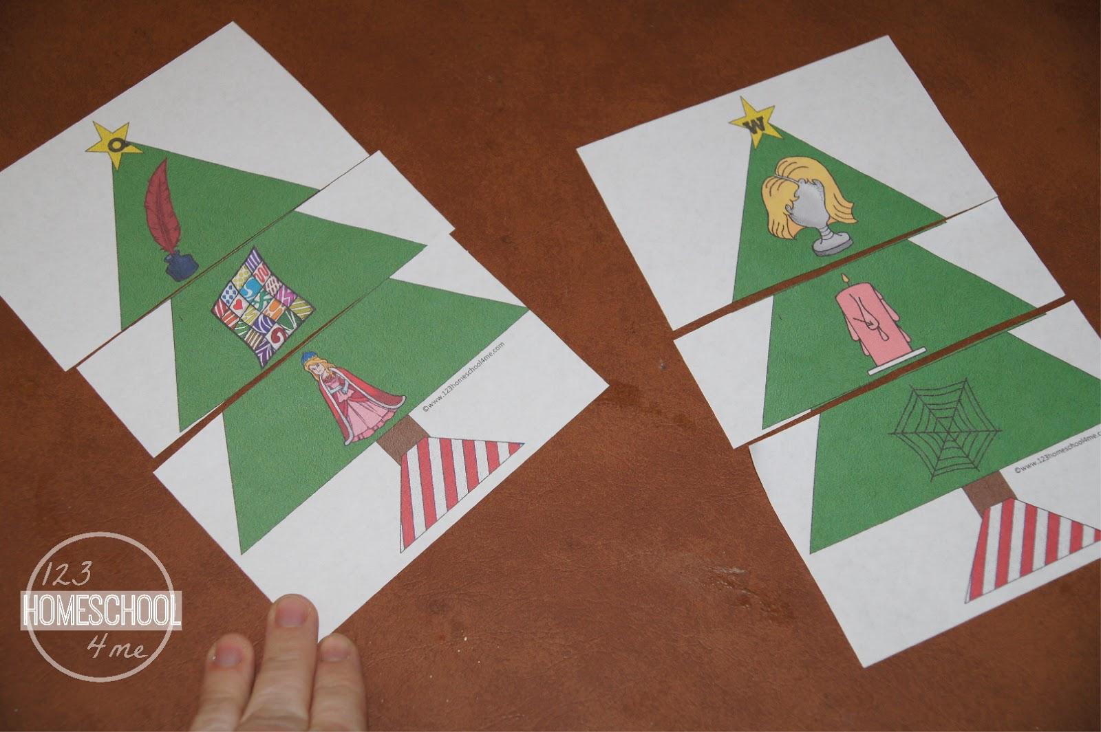 Christmas Tree Phonics Puzzles