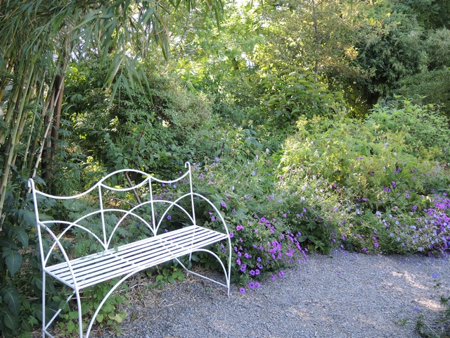 Sitzplatz neben Storchschnabelbeet