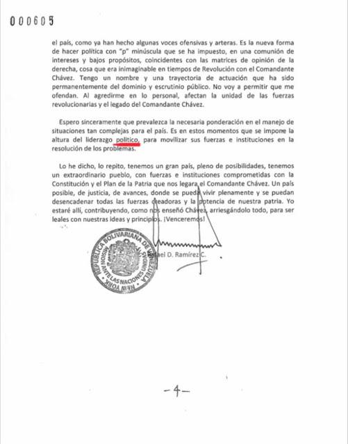 La carta de renuncia de Rafael Ramírez