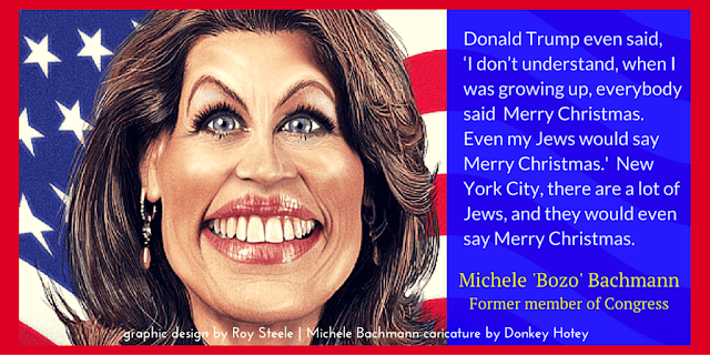 Former Minnesota Rep. Michele 'Bozo' Bachmann  (R-MN)  with a caricature by Donkey Hotey and the background of the image is the American flag. Graphic design by Roy Steele for jiveinthe415.com