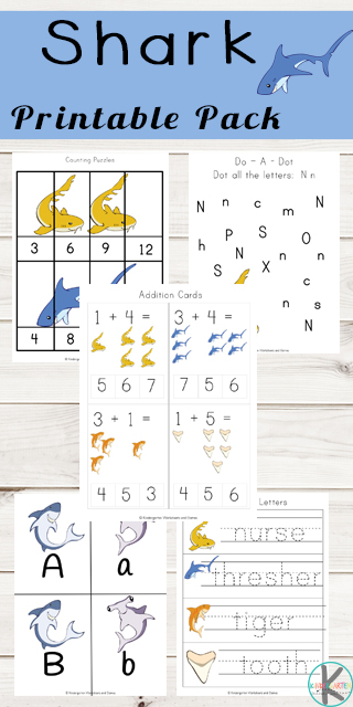 FREE Shark Printables - kids will learn about 6 sharks while they practice counting, alphabet letters, abcs, skip counting, addition, subtraction, what comes next, shadows, and more. Perfect for summer learning, home preschool, center and more for toddler, preschool, kindergarten age kids. #sharks #alphabet #kindergarten #kindergartenmath #freeworksheets #kindergartenworksheetsandgames
