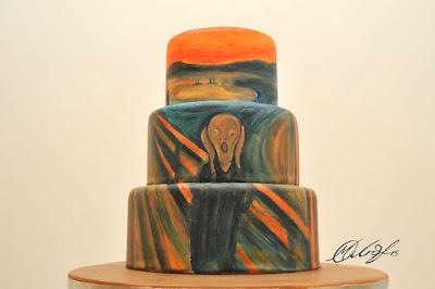 Torta o pastel decorada con el Grito de Edvard Munch