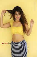 Cute Telugu Actress Shunaya Solanki High Definition Spicy Pos in Yellow Top and Skirt  0501.JPG