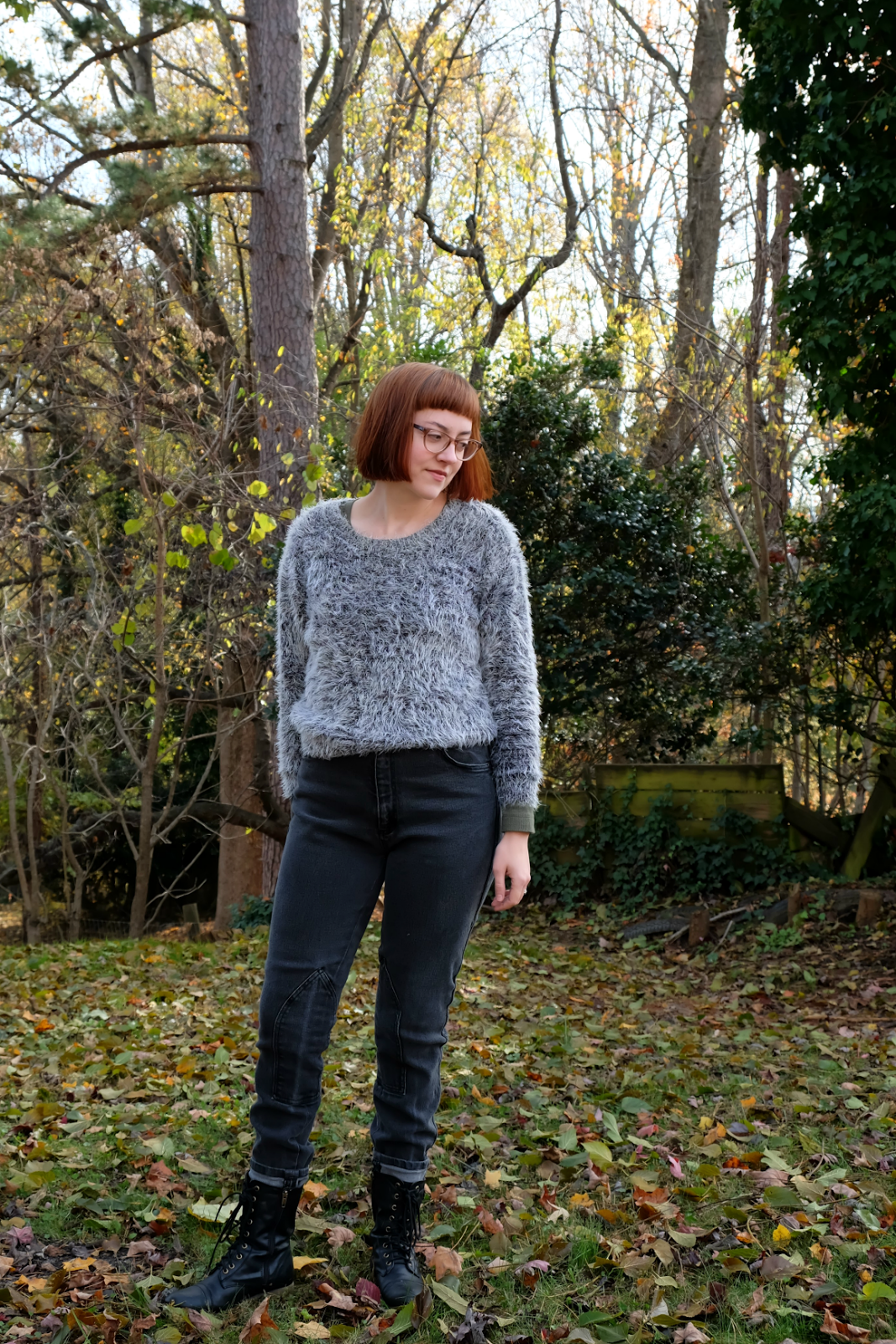 ethical outfit with vintage jeans and combat boots