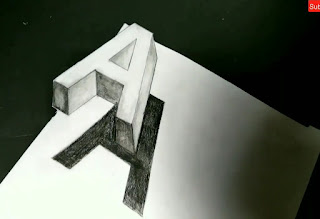 How to draw A , 3d letters drawing, step by step tutorial, learn to draw 3d letters, A 3d drawing, online drawing classes, easy drawing for kids, drawing for class 8