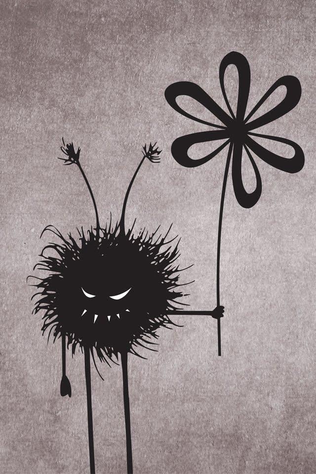 My Grinning Mind Evil Flower Bug Vintage