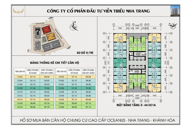 Mặt bằng tổng thể tòa OC1A Viễn Triều Nha Trang