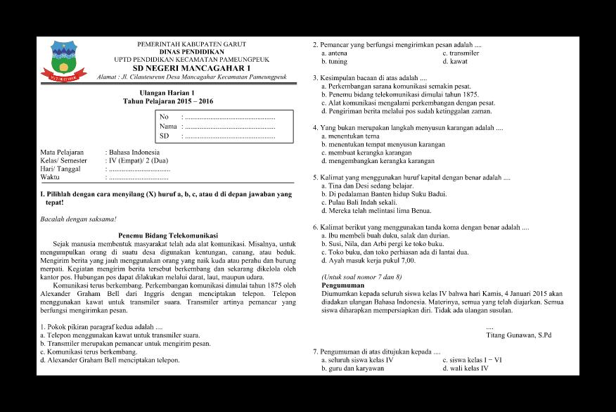 Soal Ulangan Harian Bahasa Indonesia Kelas 4 Semester 2 Nova Ardiyani