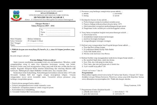 Soal UH (Ulangan Harian) Bahasa Indonesia Kelas 4 Smstr 2