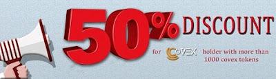Descuentos en compra y venta del 50% en CoVEX