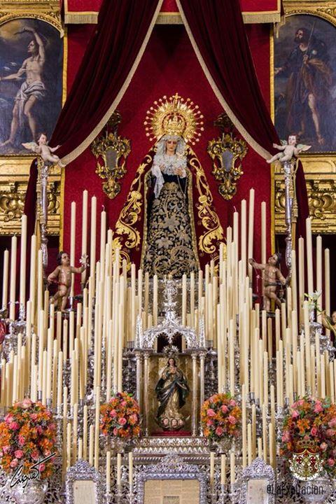 El altar de cultos de la Virgen de las Lágrimas en San Román de Sevilla