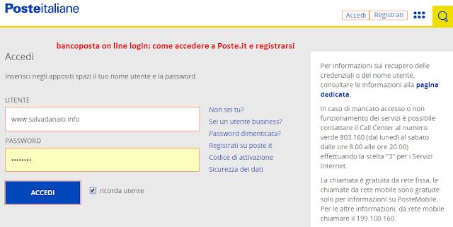 bancoposta on line accesso sito poste italiane