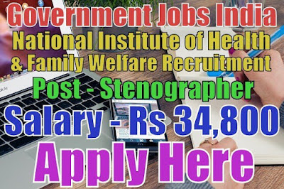 National Institute of Health and Family Welfare NIHFW Recruitment 2017