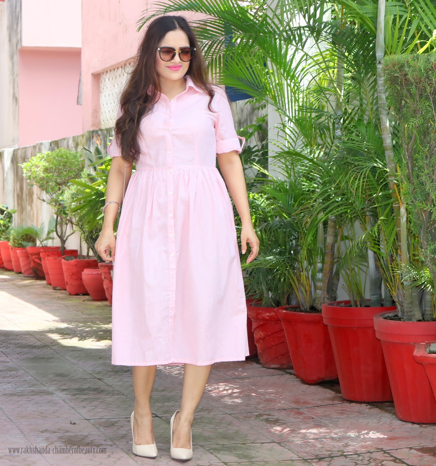 Indian fashion blogger, Pink shirt dress, outfit of the day, dress, How to style a shirt dress, stalkbuylove, Styling a shirt dress,