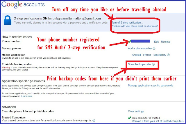Turn off 2 step verification, back up codes & Application specific passwords