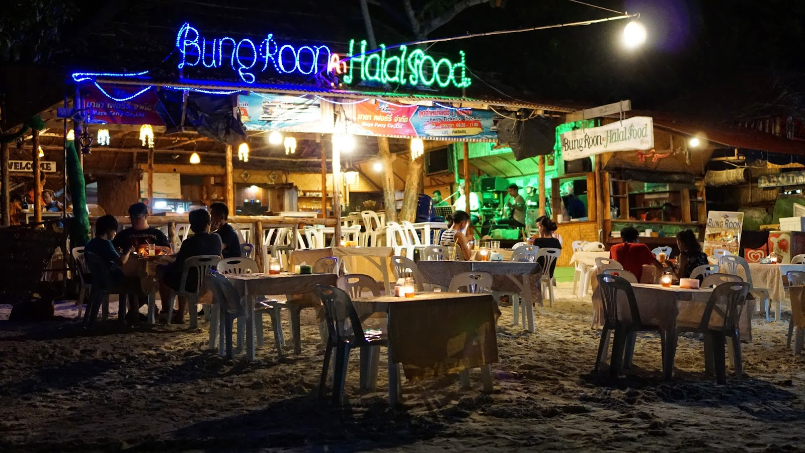 Bungroon Halal Food at Pattaya Beach. The food wasn't too bad, at least there was a live band to keep the night interesting
