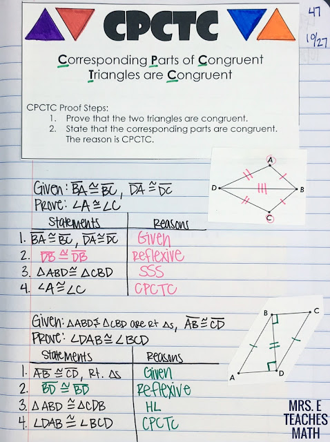 CPCTC Interactive Notebook Page for Congruent Triangles Unit in Geometry