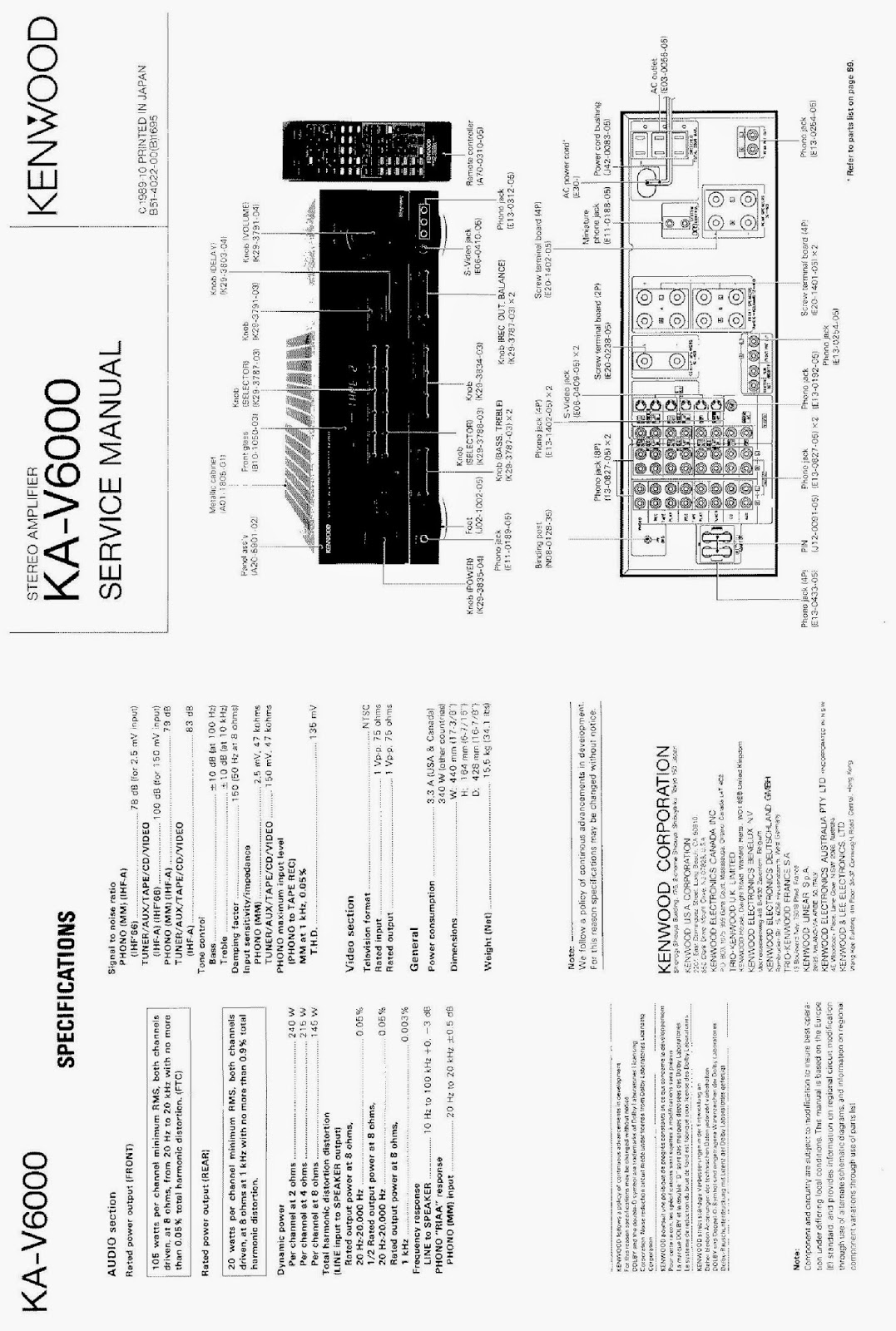 KENWOOD VR-6050 MANUAL