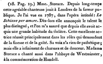 Georg Foster Voyage pittoresque en Angleterre 1790 : opinion sur Nancy Storace