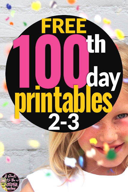 Need some ideas for the 100th day of school? Add these free printables to your 100 days of school ideas folder! Includes 4 free print and go activities you can use for art, math, centers, brain breaks, and fast finishers on the 100th day of school. Perfect for 2nd and 3rd grade elementary students. Fun for kids and easy for teachers. It's everything but the shirt! #100daysofschool #100thdayofschool #100day #education #freebie #tpt #teacherspayteachers #secondgrade #thirdgrade