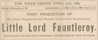 "A newspaper heading advertising a production of ""Little Lord Fauntleroy."""
