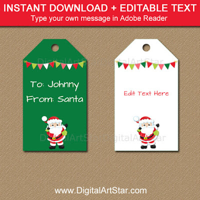 from Santa Tags - easy Christmas party printables