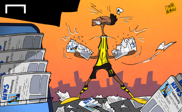 Aubameyang ripping newspapers cartoon
