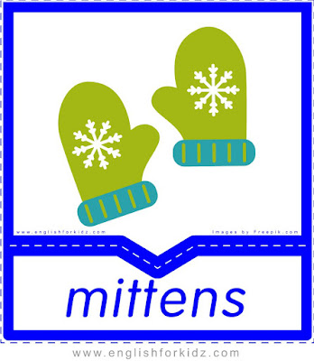 Mittens - English clothes and accessories flashcards for ESL students