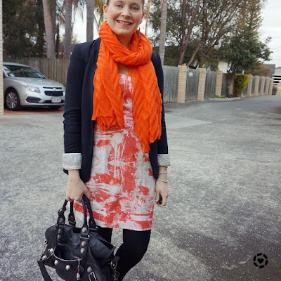 awayfromblue instagram orange dress and scarf with black accessories tights spring work outfit