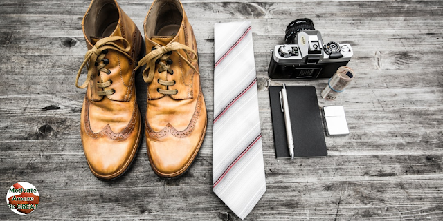 "Featured in the article: ""13 Habits That Can Absolutely Transform Your Life"". Essential things, boots, tie, notebook, pen, photo, camera, life changing habits."