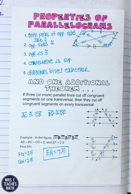 properties of parallelograms interactive notebook page