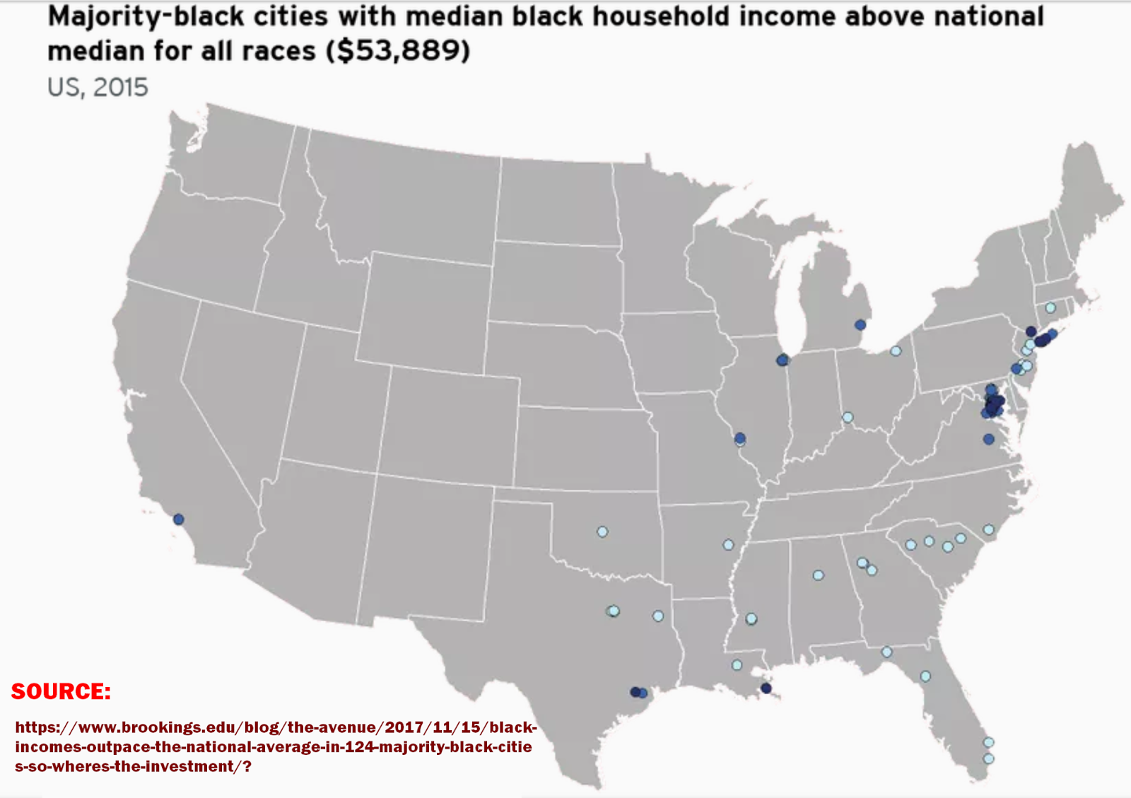 a national map of majority black cities ranked by median household incomes of black families shows that 124 communities outpace the national median