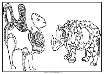 rhinoceros and camel niki de saint phalle arts coloring pages printable