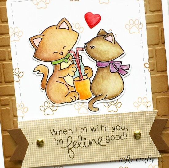 Feline Good Kitty Card by February's Guest Designer Valliam | Newton's Sweetheart Stamp Set by Newton's Nook Designs #newtonsnook