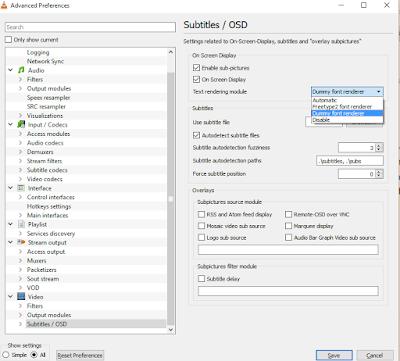 Screenshot of VLC Player Video settings