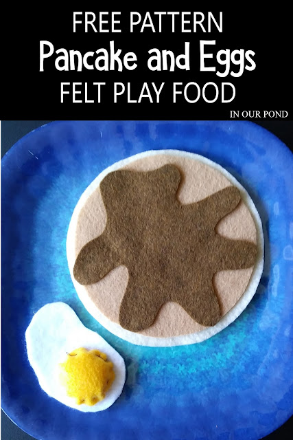 Easy Circular Felt Food with Patterns // In Our Pond // free printable // pretend play // kids play // play kitchen // crafting // diy // sewing // breakfast // pancakes // eggs // pretend baking