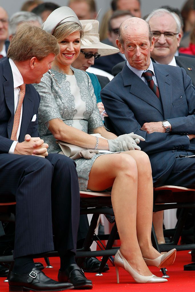 Dutch King Willem-Alexander, Queen Maxima of the Netherlands and Prince Edward, Duke of Kent attend the Belgian federal government ceremony to commemorate the bicentenary of the Battle of Waterloo on June 18, 2015 in Waterloo, Belgium.