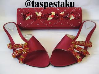 Merah Maroon Handmade Tas Pesta dan Sandal Pesta Matching