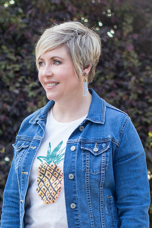 tassel earrings and pineapple tee