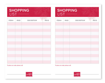Print this Shopping List to get ready to order your favorites